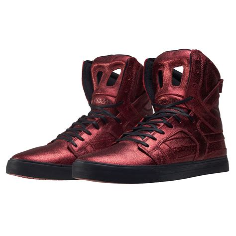 supra skytop ii c supra skytop ii metallic foiled mens trainers in dark red