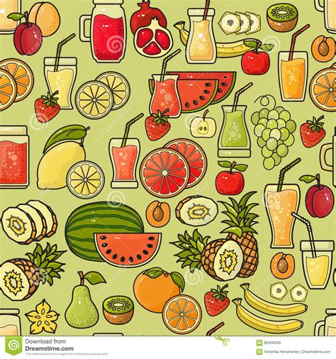 juice pattern vector vector seamless pattern of colorful fruit juice icon
