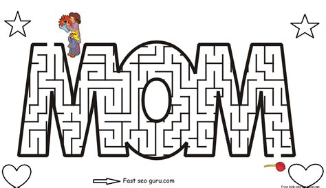 maze coloring pages printable coloring page for kids free printable mothers day maze coloring pages for