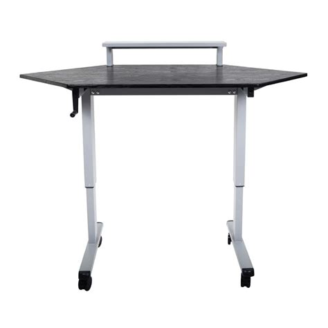 Height Adjustable Corner Desk Luxor Adjustable Height Stand Up Corner Desk Silver And Black Standup Ccf60 B