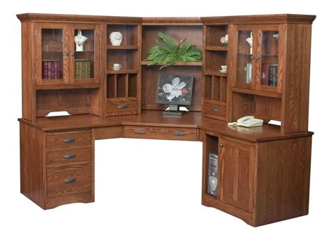 Solid Wood Corner Desk With Hutch Amish Large Corner Computer Desk Hutch Bookcase Home Office Solid Woo