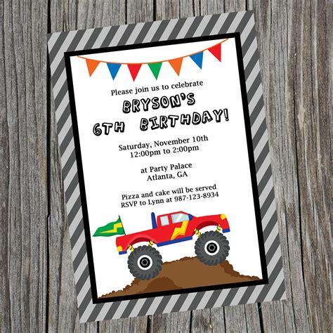 printable birthday invitations etsy custom printable monster truck birthday party by cohenlane