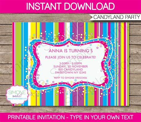 Candyland Party Invitations Template Birthday Party Birthday Invitation Editable Templates