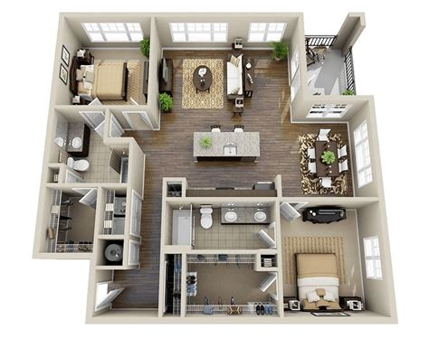 laxurious residential 3d floor plan paris sims 10 awesome two bedroom apartment 3d floor plans bedroom