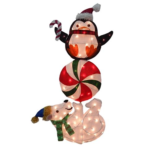trim a home outdoor christmas decorations trim a home 174 48 quot 70lt tinsel polar bear and penguin