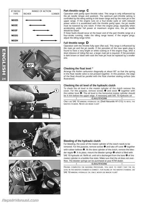 Ktm 300 Exc Carburetor 1999 Ktm 125 200 250 300 380 Sx Mxc Exc Egs Owners Manual