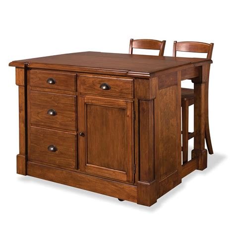 home styles aspen rustic cherry kitchen island with seating 5520 949 the home depot