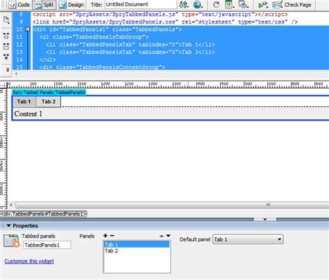 tutorial web menggunakan dreamweaver cara membuat tabbed panels dengan menggunakan adobe