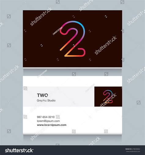 editable business card template logo number two 2 business card stock vector 278838002