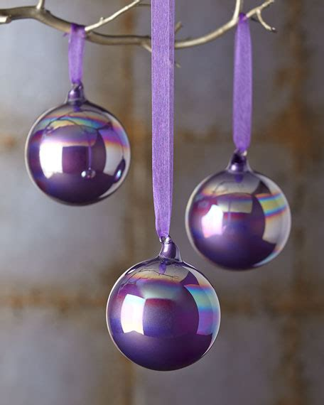 jim marvin three purple christmas ornaments