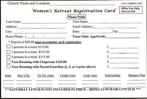 registration card template free for recalls retreat registration form sle magikal moments
