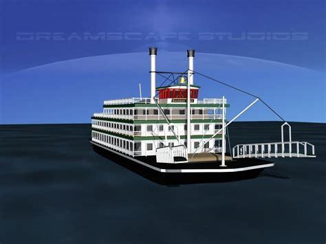 stern boat stern wheeler river boat 3d model rigged max obj 3ds lwo