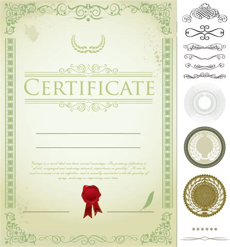 free certificate design templates 7 vector certificate border templates images green