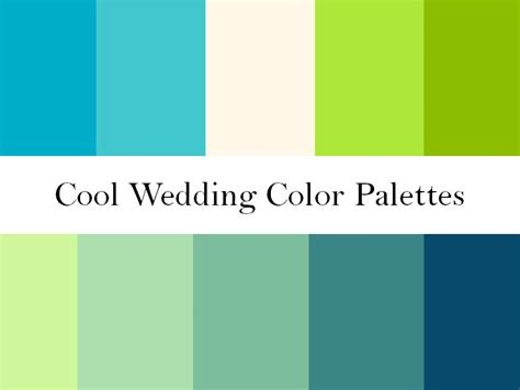 green color schemes cool wedding color palettes of green blue and teal