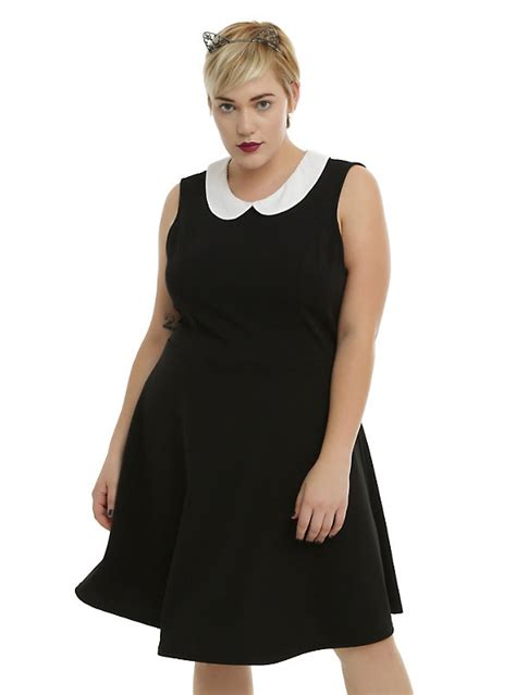 Black White Sleeveless Dress 1 black white collar sleeveless dress plus size topic