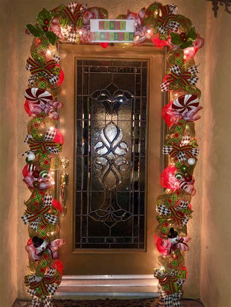 outdoor christmas garland  lights front door christmas
