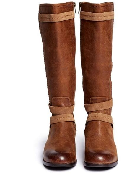 ugg darcie leather boots in brown neutral and brown lyst