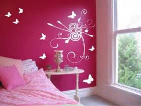 Bedroom girl bedroom ideas painting flowers and butterfly wall decals