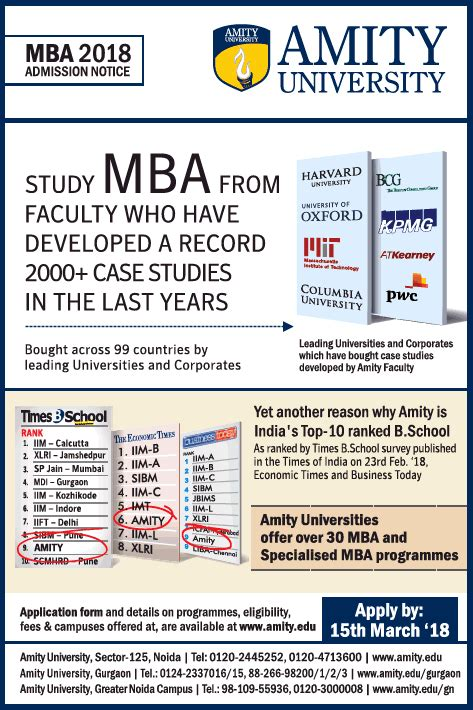 Study Mba by Amity Advertisement Collection Published In