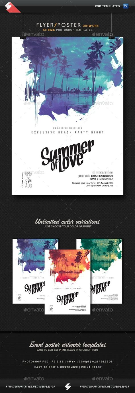 design poster a3 summer of love party flyer poster template a3 summer