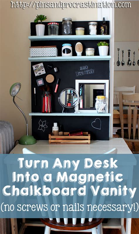 turn any desk into a magnetic chalkboard vanity pins and