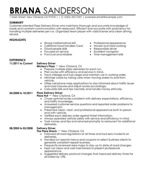 Delivery Driver Resume Exles by Pizza Delivery Drivers Resume Exles Created By Pros Myperfectresume