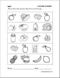 worksheet fruit categories preschool primary abcteach