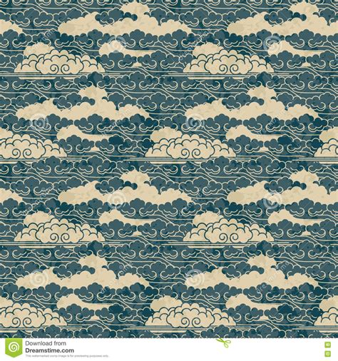 traditional japanese pattern vector seamless vector hand drawn traditional japanese cloud