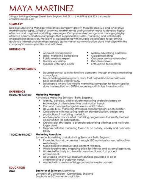 cv template for marketing marketing manager cv template cv sles exles