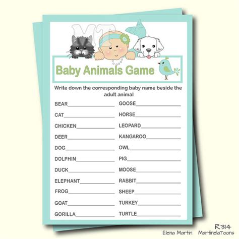 printable animal guessing game cute mermaid baby animal game guess animal girl baby