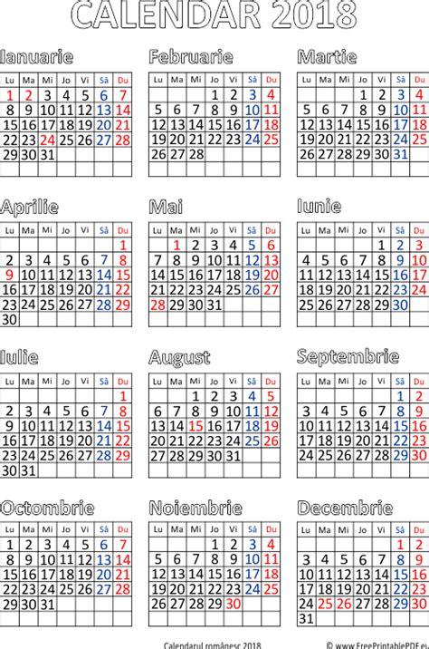 Calendar 2018 Ro Imprimare Calendar Pentru 2018 Fișierele Pdf Gratuite