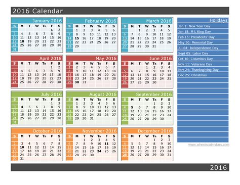 2016 Calendar Year 2016 Yearly Calendar Printable When Is Calendar