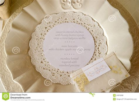 Fancy Place Setting Wedding Dinner Menu Place Setting Royalty Free Stock