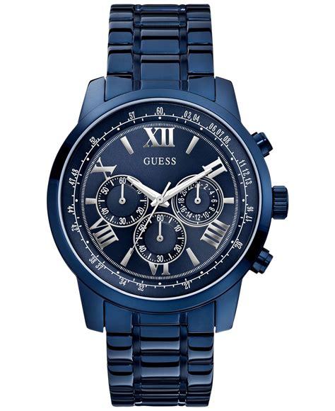 guess chrono guess s chronograph blue tone bracelet 45mm