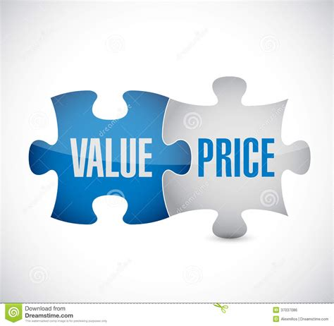 price of value and price puzzle pieces illustration design stock