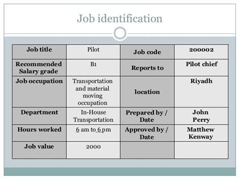 Pilot Description by Description And Specification