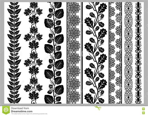indian henna border decoration elements patterns in black