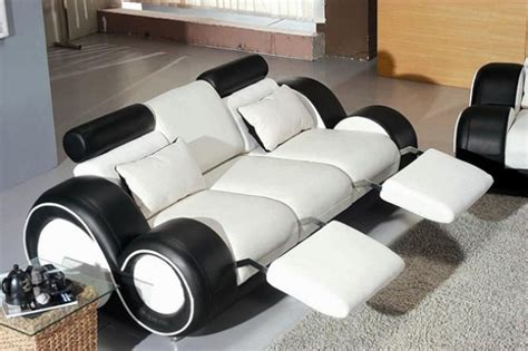 black white futuristic couch modern living room furniture black and white model home