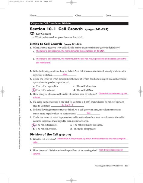 section 10 2 cell division worksheet cell growth and division worksheet geersc