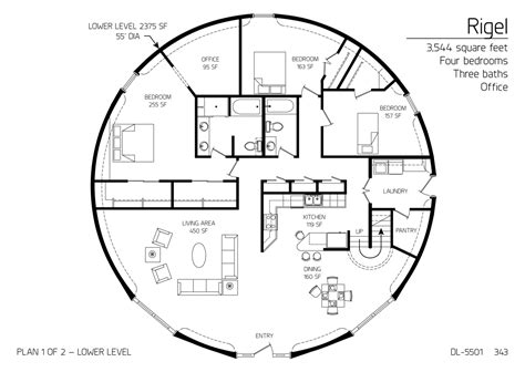 Small Dome Home Floor Plans Floor Plan Dl 5501 Monolithic Dome Institute