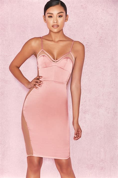 Dsbm223781 Pink Dress Dress Pink clothing bodycon dresses antares dusty pink satin