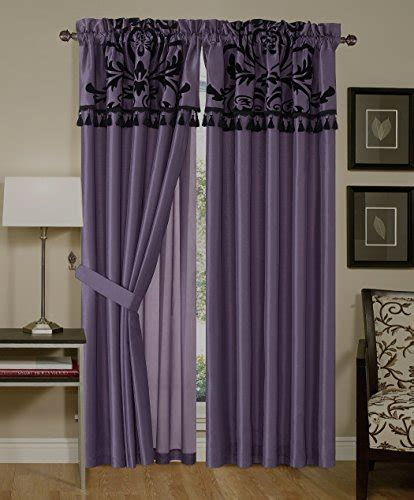 chezmoi collection curtains chezmoi collection 4 piece flocked floral faux silk window