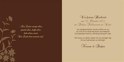 Hochzeitseinladung Zitate by Hochzeitseinladung Florale Elemente In Dunkelbraun