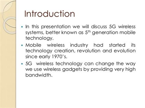 Research Paper On 5g Wireless Technology by Seminar Presentation On 5g
