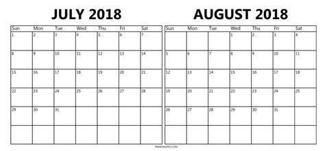 Printable Calendar July August 2018 | july and august 2018 calendar mathmarkstrainones com