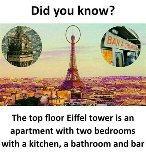 do you know where the bathroom is did you know bar the top floor eiffel tower is an