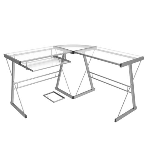 l shaped computer desk in silver