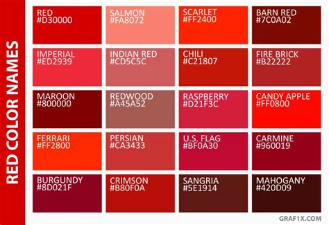 different color reds color names color names in 2019 orange color