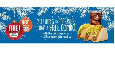Taco Bell Gift Card Deal - buy a 25 taco bell gift card get a free combo mwfreebies