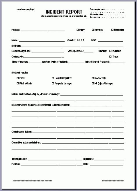 incident report form template word incident report form template word asafonggecco pertaining